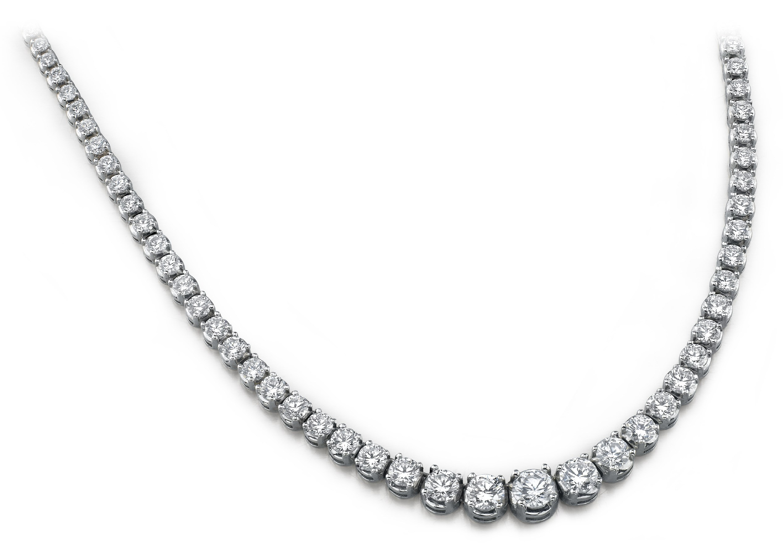 Diamond Necklace - 12.00 Carat Diamonds - 14K White Gold