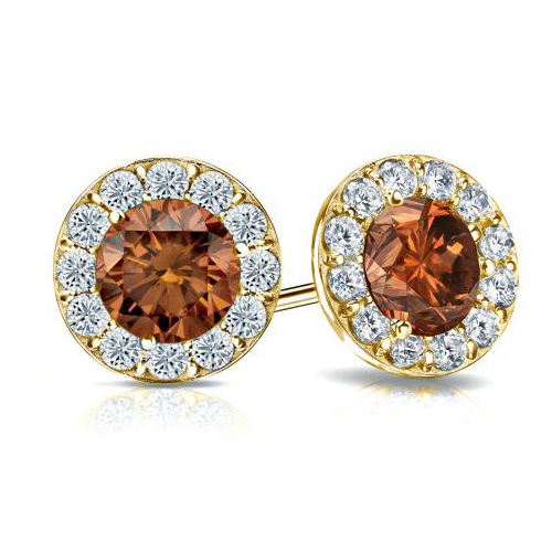 0.80 Ct. Cognac Diamond Earstuds - 14K yellow gold