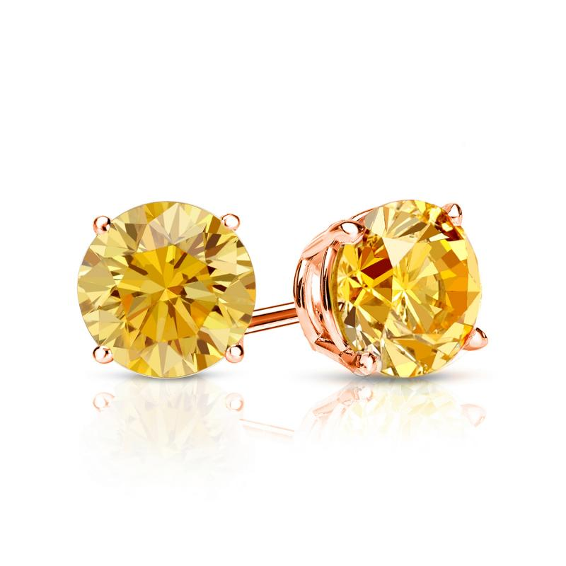 1.00 Ct. Yellow Diamond Earstuds - 14K rose gold