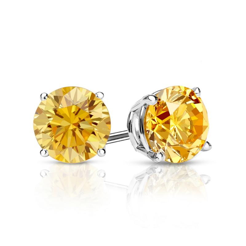 1.00 Ct. Yellow Diamond Earstuds - 14K white gold