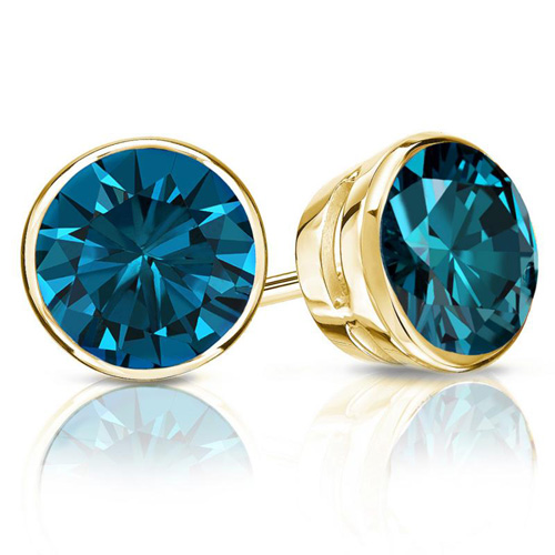 2.00 Ct. Blue Diamond Earstuds in 14K yellow gold