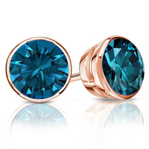 1.00 Ct. Blue Diamond Earstuds in 14K rose gold