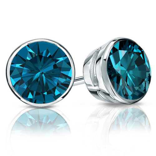 1.00 Ct. Blue Diamond Earstuds - 14K white gold