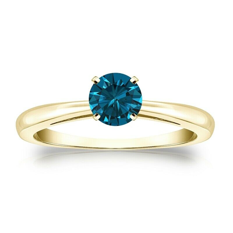 Solitaire 0.50 Ct. Bleu Diamant Bague de Or jaune 14K