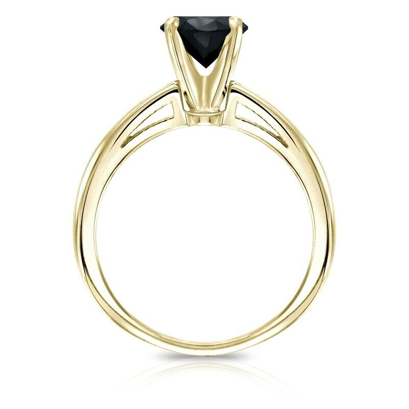 0.50 Quilates Diamante negro Anillo Solitarios 14k oro amarillo