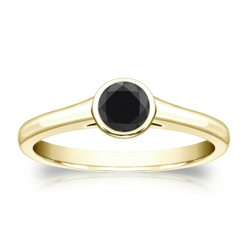 0.50 CT BLACK DIAMOND ENGAGEMENT RING 14K YELLOW GOLD