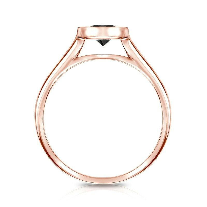 0.50 CT BLACK DIAMOND ENGAGEMENT RING 14K ROSE GOLD