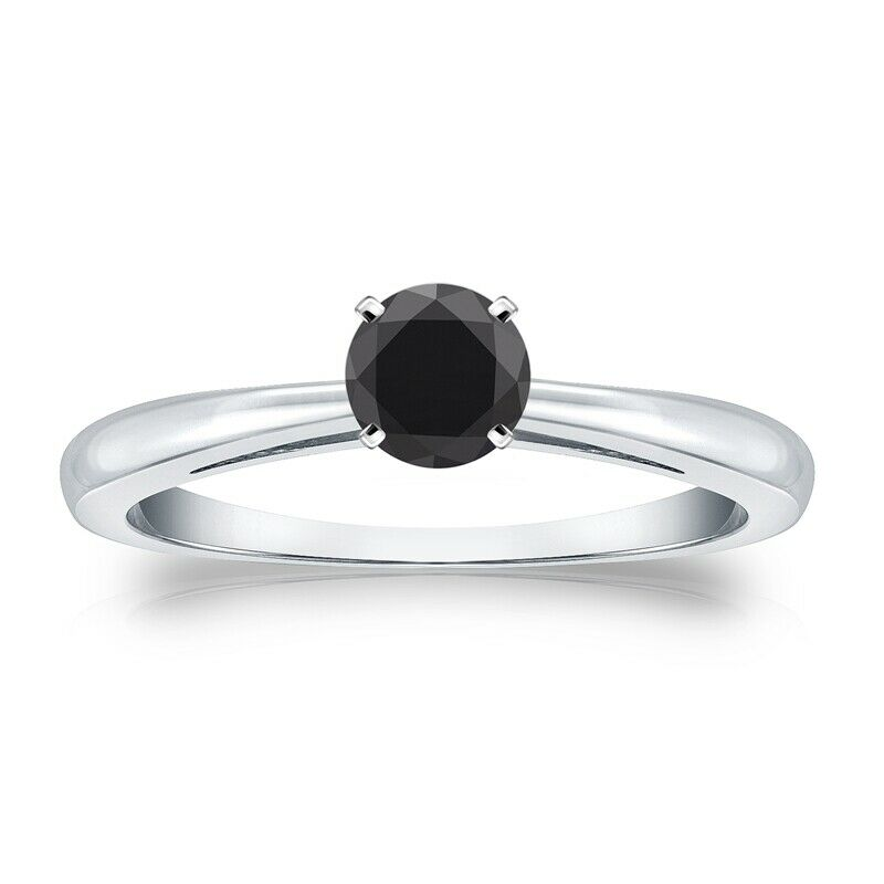 0.50 Quilates Diamante negro Anillo Solitarios 14k oro blanco