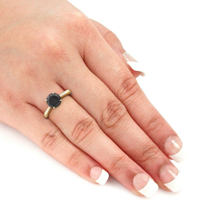 2.00 Quilates Diamante negro Anillo Solitario 14k oro amarillo