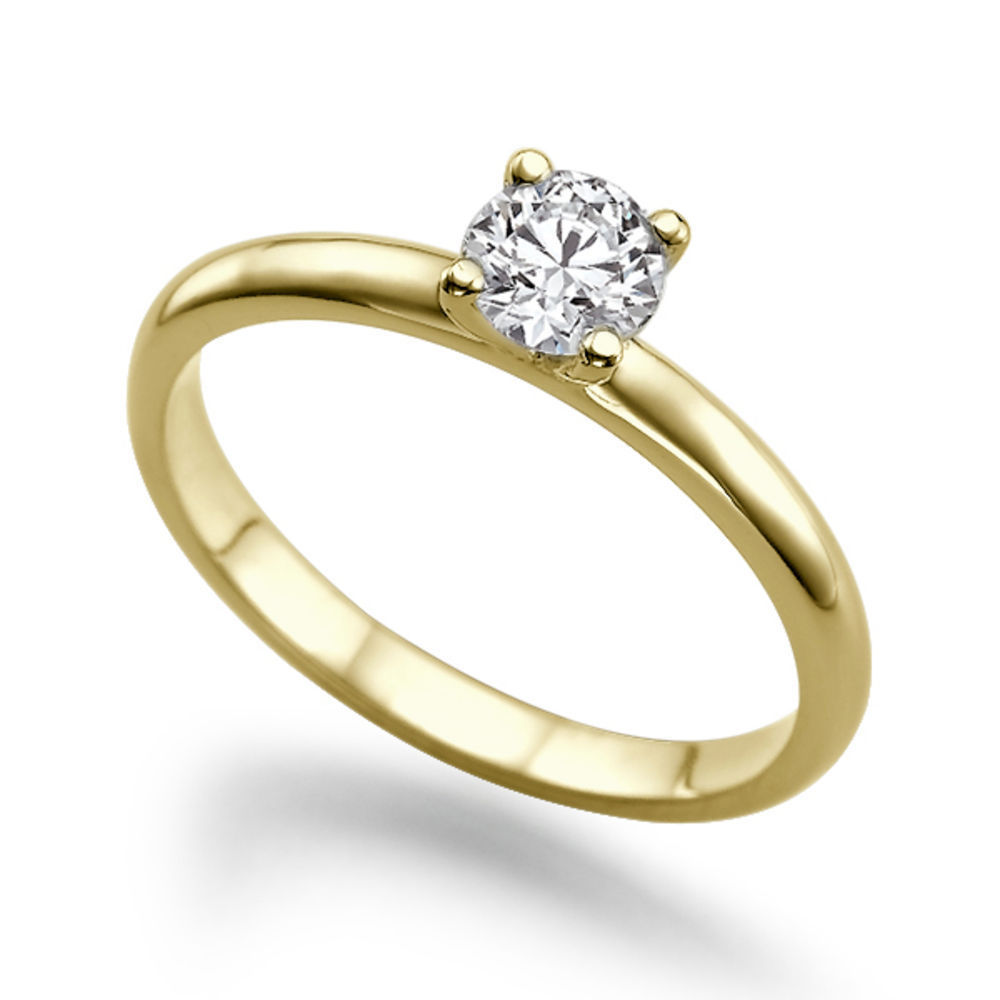 0.25 Quilates Diamante (F/VS2) Anillo Solitarios 14k oro amarillo
