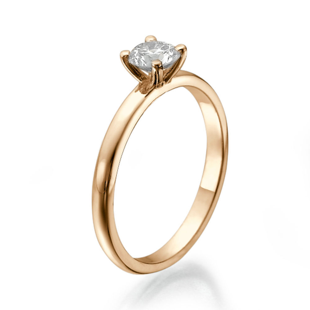 Diamantring rosegold  Diamant Ring Solitär 0.25 Karat (VS2/F) in 585er Rosegold ...