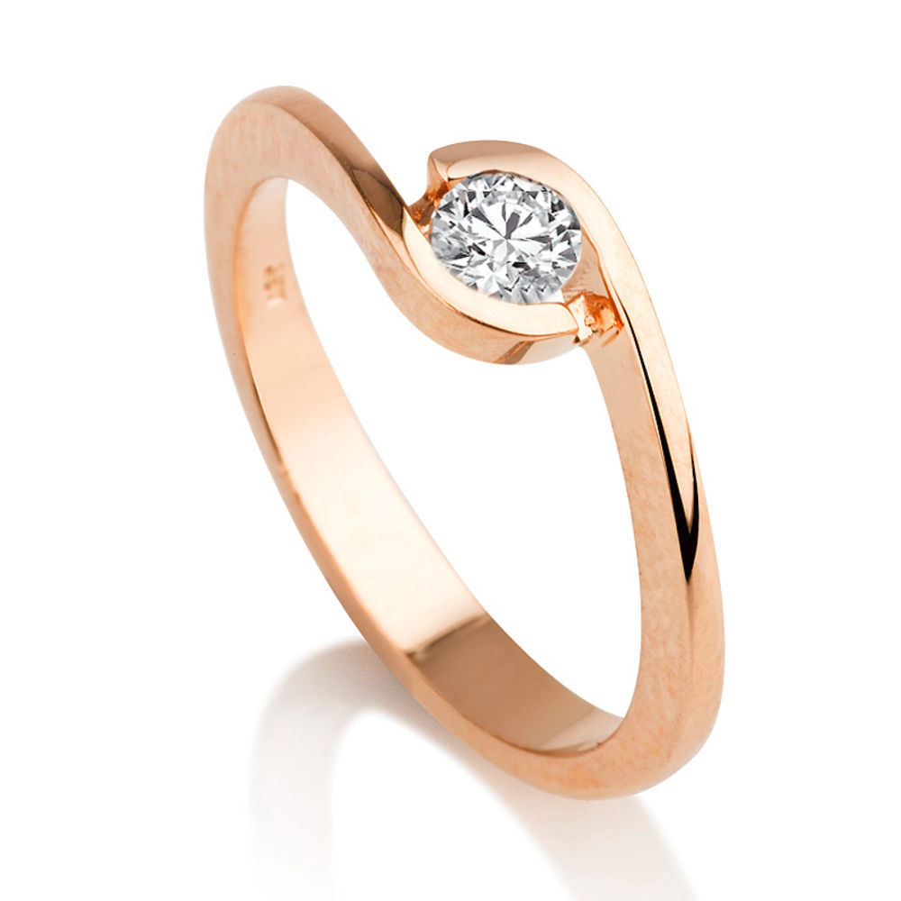 Diamantring rosegold  Diamant Ring Solitär 0.25 Karat (VS2/F) in 750er Rosegold ...