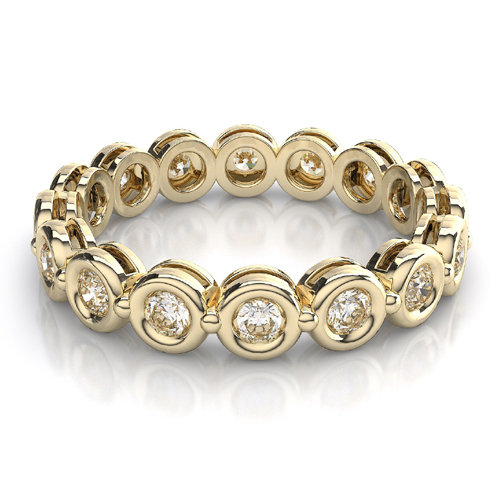 2.00 Ct. Mémoire Blanc Diamants Bague de Or Jaune 14K
