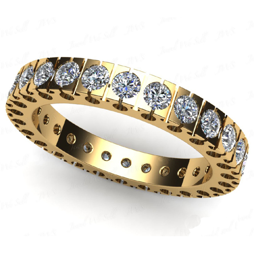 0.80 carat diamond eternity ring 18K yellow gold H/SI1