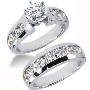 3.20 ctw Diamond Bridal Set Engagement Rings *Set No.1*