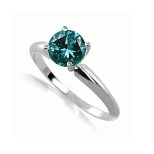 0.25 Quilates Diamante azul Anillo Solitarios 14k blanco