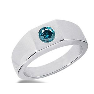 0.50 CT ROUND BLUE DIAMOND 14K WHITE GOLD MEN'S RING