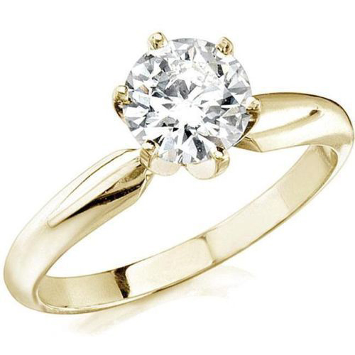 0.50 Ct. Diamante Anillo 14k oro amarillo D/SI1 + certificado GI