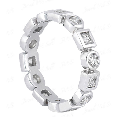 1.25 Ct. Mémoire Blanc Diamants Bague de Or 14K