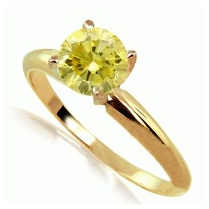 Solitaire 0.25 Ct. Jaune Diamant Bague de Or Jaune 14K