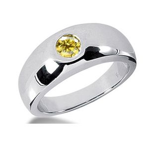 0.50 CT ROUND YELLOW DIAMOND 14K WHITE GOLD MEN'S RING