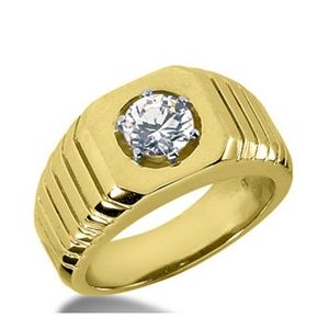 0.55 CT ROUND DIAMOND 14K YELLOW GOLD MEN'S RING