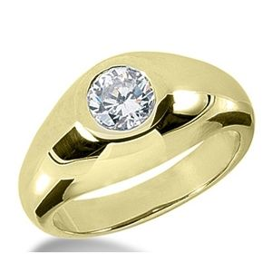 1.00 CT ROUND DIAMOND 14K YELLOW GOLD MEN'S RING