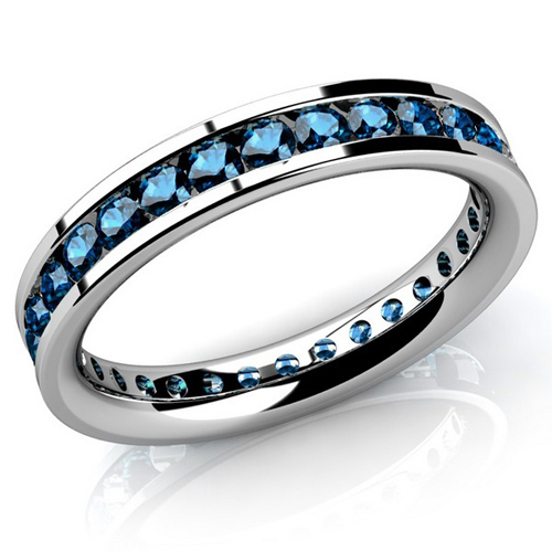 Diamant Ring Memory 2.00 Karat blaue Diamanten
