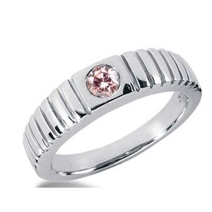 0.35 CT ROUND PINK DIAMOND 14K WHITE GOLD MEN'S RING