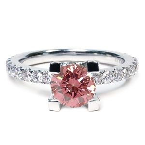 2.02 CT ROUND PINK DIAMOND 18K ENGAGEMENT RING