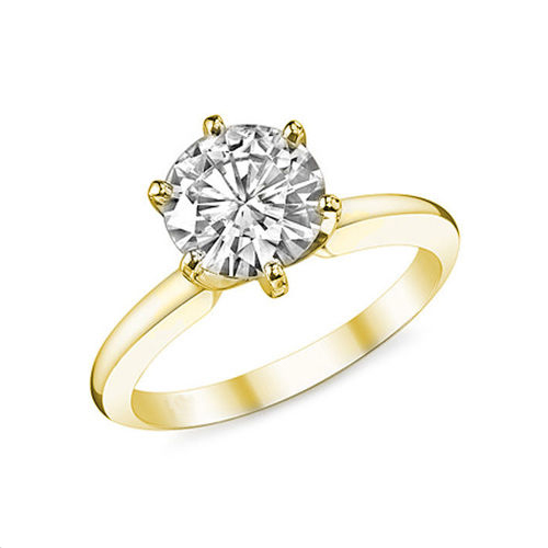 1.00 CT F/SI1 ROUND DIAMOND ENGAGEMENT RING 14K YELLOW GOLD