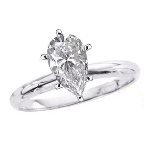 1/2 CT G/SI2 PEAR DIAMOND ENGAGEMENT RING 14K GOLD