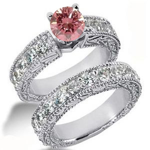 Diamantringe Set No. 15 - Diamantring mit pink Diamant