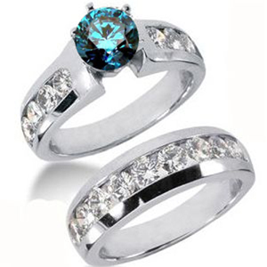Diamantring Set blauer Diamant