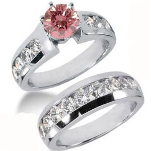 Diamantring Set pink Diamant