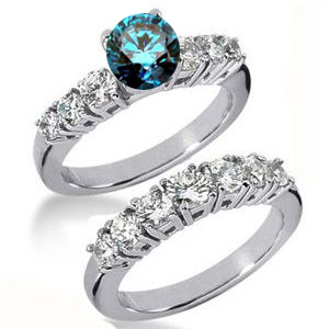 Diamantringe Set No. 25 - Diamantring mit blauem Diamant