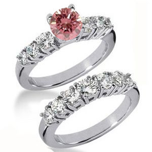 Diamantringe Set No. 25 - Diamantring mit pink Diamant
