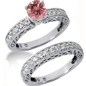 Eheringe- Diamantringe mit pink Diamant Set 26