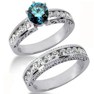 Diamantringe Set No. 28 - Diamantring mit blauem Diamant