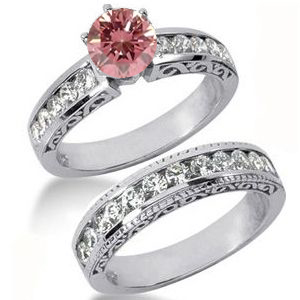 Diamantringe Set No. 28 - Diamantring mit pink Diamant