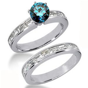 Diamantringe Set No. 3 - Diamantring mit blauem Diamant