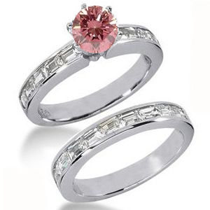 Diamantringe Set No. 3 - Diamantring mit pink Diamant