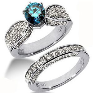 Diamantring mit blauem Diamant - Diamantringe Set No. 4