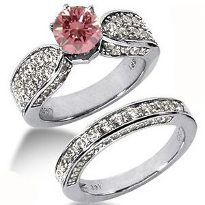 Diamantring mit pink Diamant - Diamantringe Set No. 4