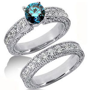 Diamantringe Set No. 5 - Diamantring mit blauem Diamant