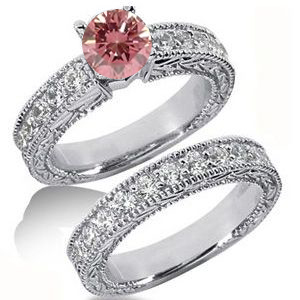 Diamantringe Set No. 5 - Diamantring mit pink Diamant