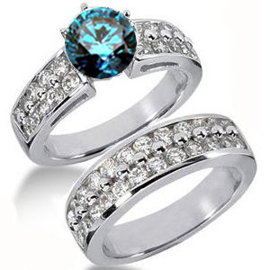 Diamantringe Set No. 7 - Diamantring mit blauem Diamant