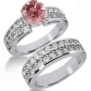 Diamantringe Set No. 7 - Diamantring mit pink Diamant