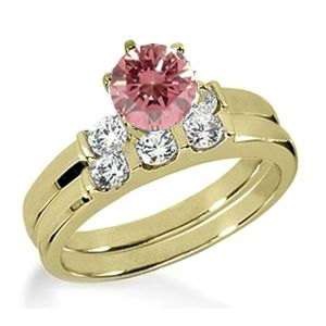 Eheringe- Diamantringe mit pink Diamant Set 8