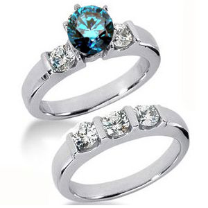 Diamantringe Set No. 8 - Diamantring mit blauem Diamant